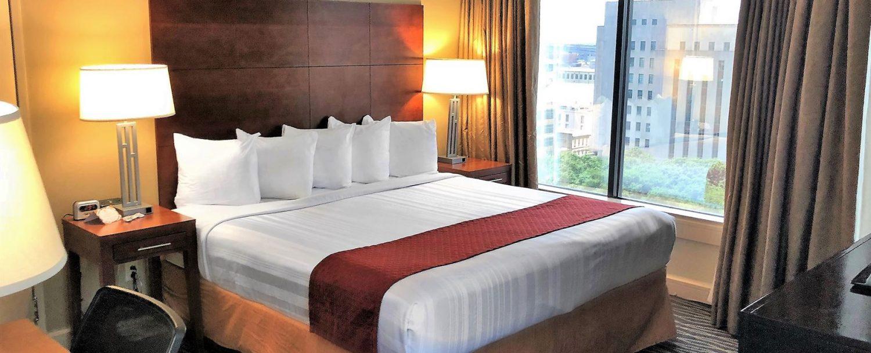 Suite bedroom overlooking the city